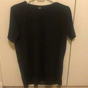 Fabletics Black T-Shirt with Mesh Bottom